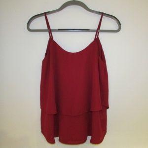 Francesca's red flowy tank top